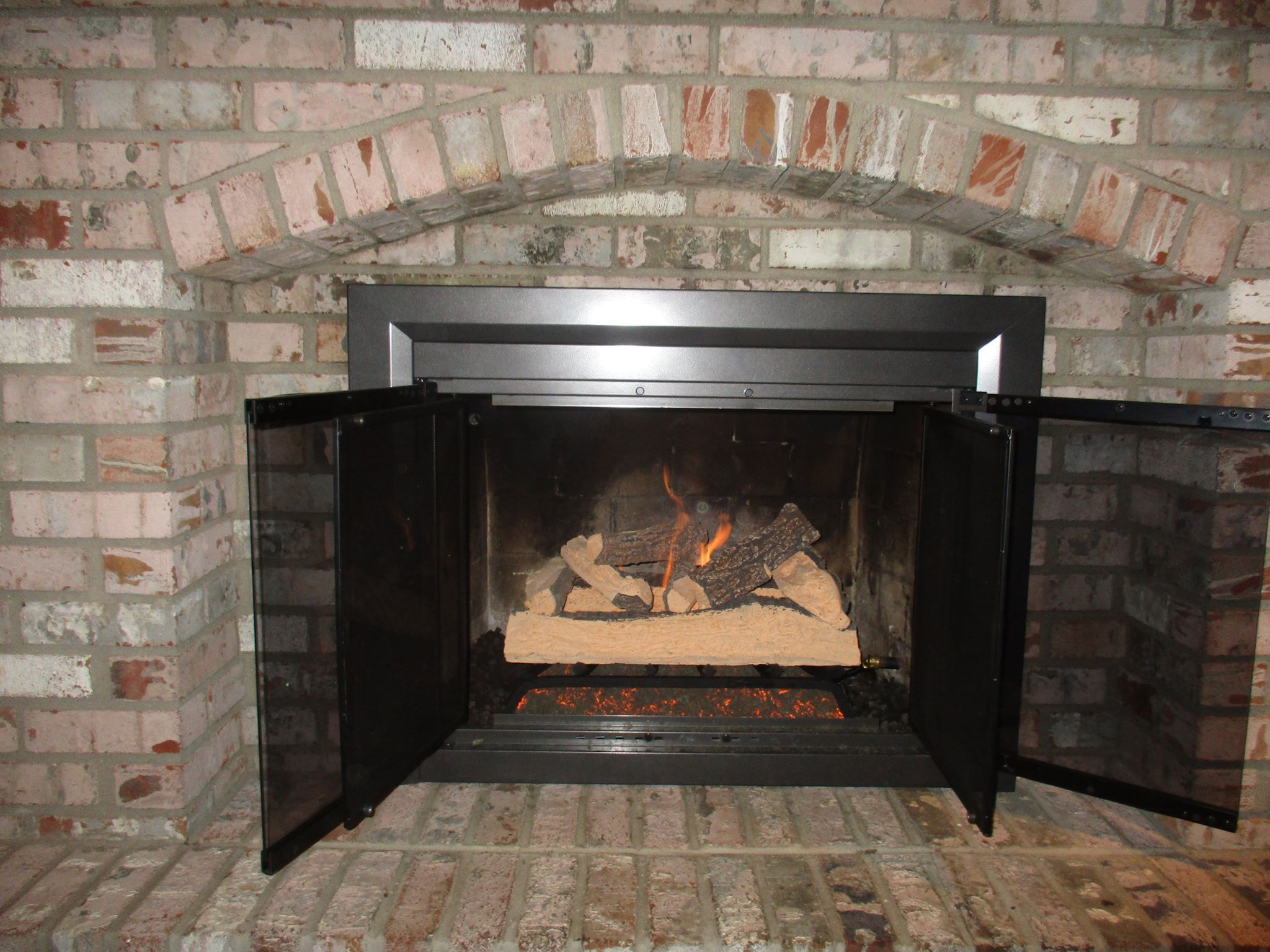 Gas log installation before after photos for Fireplaces southwest